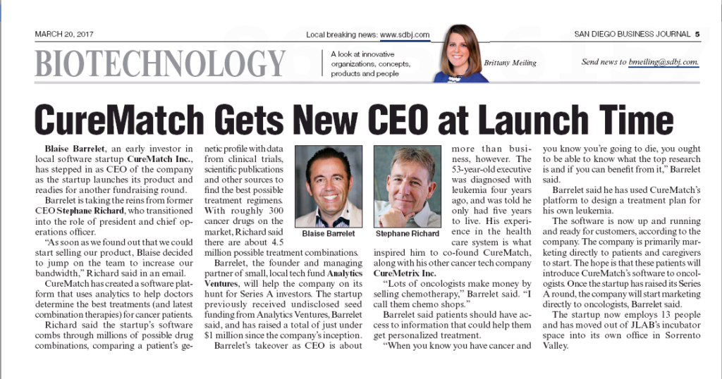 CureMatch Featured in the San Diego Business Journal