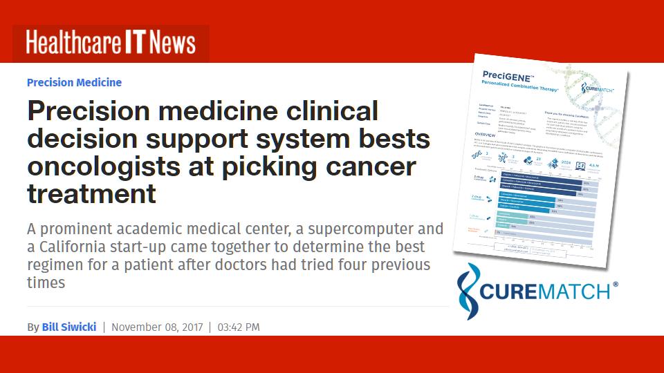 HealthcareIT News Article Shows CureMatch Platform Helps Oncologists