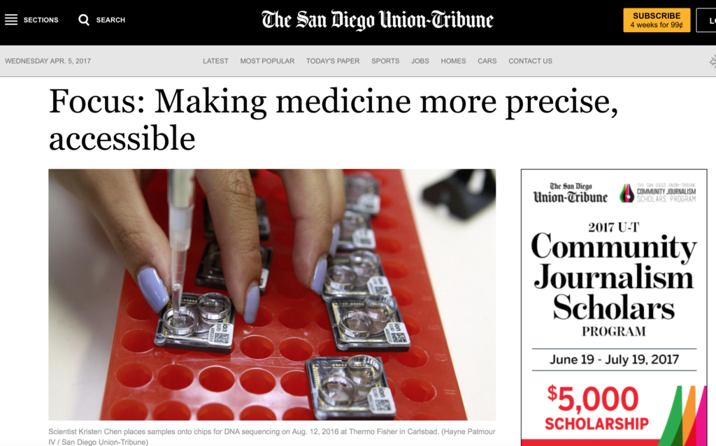 CureMatch Mentioned in San Diego Union-Tribune Article About Personalized Medicine