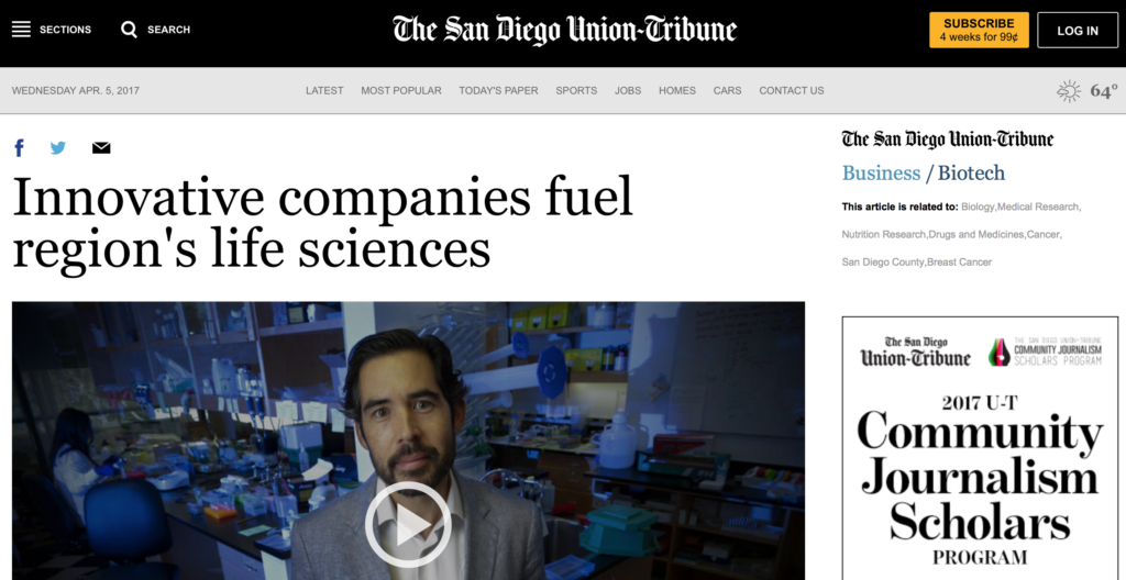 CureMatch Among Life Science Innovators Mentioned In San Diego Union-Tribune