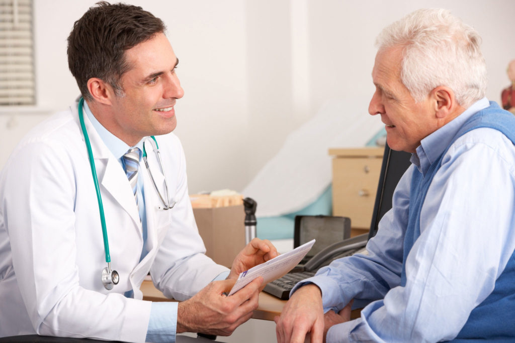 oncologist and patient
